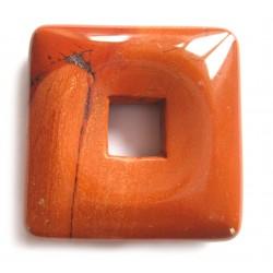 Donut Quadrat Jaspis rot 30 mm