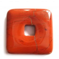 Donut Quadrat Jaspis rot 40 mm