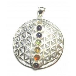 Chakra-Anhänger Blume des Lebens 925er Silber