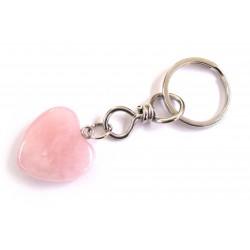 Schlüsselanhänger Herz Rosenquarz