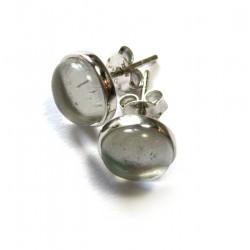 Ohrstecker Bergkristall Cabochon 8 mm 925er Silber