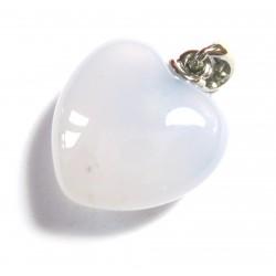 Herz 20 mm bauchig Chalcedon hellblau mit Öse