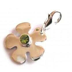 Charm Blume mit Peridot 28 mm