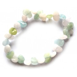 Nugget-Armband klein Beryll rosa-grün-blau flach