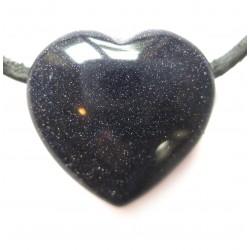 Herz gebohrt Blaufluss (Kunstglas) 20 mm