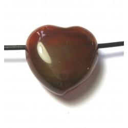 Herz gebohrt Carneol (erhitzt) 25 mm