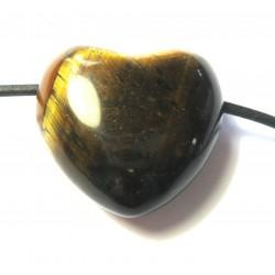 Herz gebohrt Tigerauge 25 mm