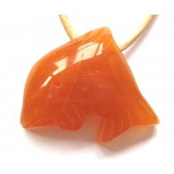 Delfin quergebohrt Aventurinquarz orange kleine Bohrung