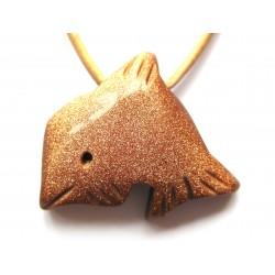 Delfin quergebohrt Goldfluss (Kunstglas) kleine Bohrung