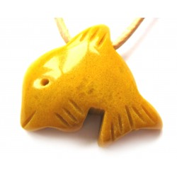 Delfin quergebohrt Dolomit gelb kleine Bohrung