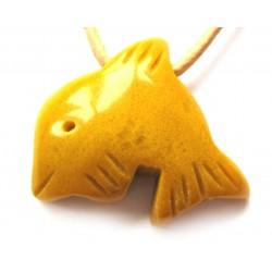 Delfin quergebohrt Serpentin gelb kleine Bohrung