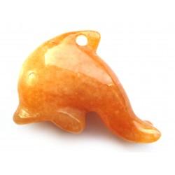 Delfin 3 cm gebohrt Aventurinquarz orange