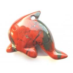 Delfin 3 cm gebohrt Jaspis rot