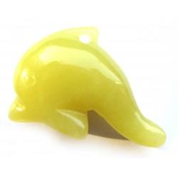 Delfin 3 cm gebohrt Serpentin limone