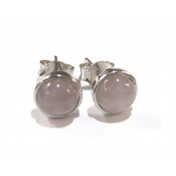 Ohrstecker Rosenquarz Cabochon 6 mm 925er Silber