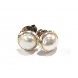 Ohrstecker Perle (gebleicht) Cabochon 6 mm 925er Silber