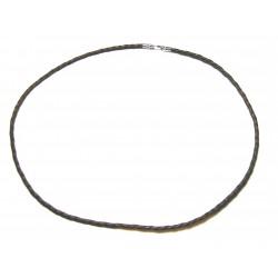Lederband geflochten Braun / dunkelbraun 3 mm 45 cm mit 925er Silber Karabiner