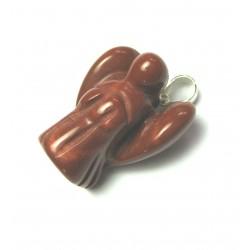 Engel-Anhänger Jaspis rot 2 cm 925er Silber