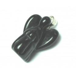 Engel-Anhänger Obsidian schwarz 2 cm 925er Silber