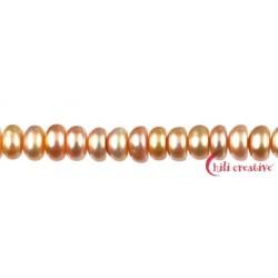 Strang Button Süßwasser-Perle A lachs (natur) 6-7 mm