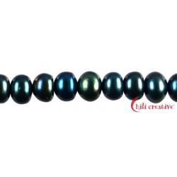 Strang Button Süßwasser-Perle c blau-metallisch (gefärbt) 6-7 mm
