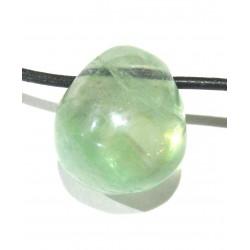 Trommelstein gebohrt Fluorit grün