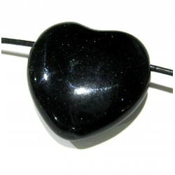Herz gebohrt Blaufluss (Kunstglas) 30 mm