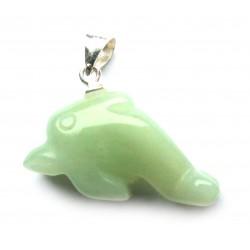 Delfin mit Metall-Öse Serpentin grün