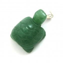 Schildkröte Aventurinquarz grün 925er Silber-Öse