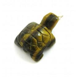 Schildkröte Tigerauge 925er Silber-Öse