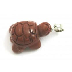Schildkröte mit  Metall-Öse Jaspis rot