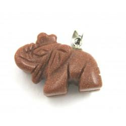 Elefant mit Metall-Öse Goldfluss (Kunstglas)