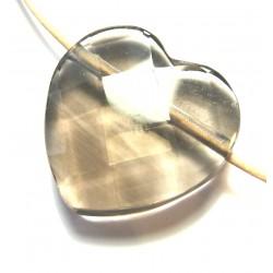 Herz gebohrt Rauchquarz facettiert 25 mm