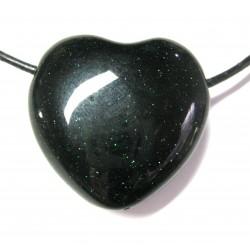 Herz gebohrt Grünfluss (Kunstglas) 30 mm