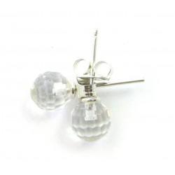 Ohrstecker Bergkristall facettiert Kugel 6 mm 925er Silber
