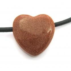 Herz gebohrt Goldfluss (Kunstglas) 15 mm