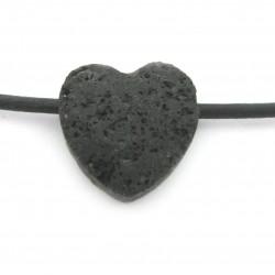 Herz gebohrt Lava 15 mm