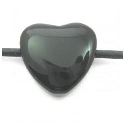 Herz gebohrt Onyx (gefärbt) 15 mm