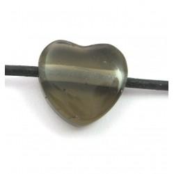 Herz gebohrt Rauchquarz 15 mm
