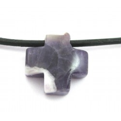 Kreuz gebohrt Amethyst 15 mm