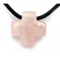 Kreuz gebohrt Rosenquarz 15 mm
