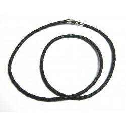 Lederband geflochten schwarz 3 mm 45 cm mit 925er Silber Karabiner