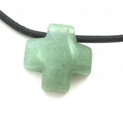 Kreuz gebohrt Aventurinquarz grün 15 mm