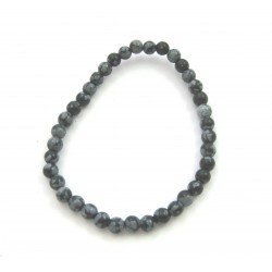 Kugel-Armband Schneeflocken-Obsidian 4 mm Kindergröße