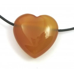Herz gebohrt Carneol (erhitzt) 30 mm