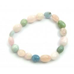 Nugget-Armband Beryll rosa-grün-blau