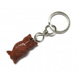 Schlüsselanhänger Eule Jaspis rot