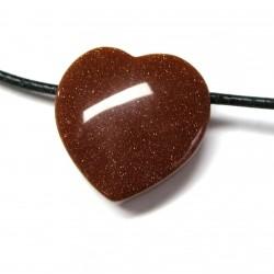 Herz gebohrt Goldfluss (Kunstglas) 20 mm