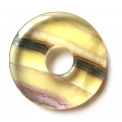 Donut Fluorit bunt mit gelb 30 mm