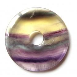 Donut Fluorit bunt mit gelb 40 mm